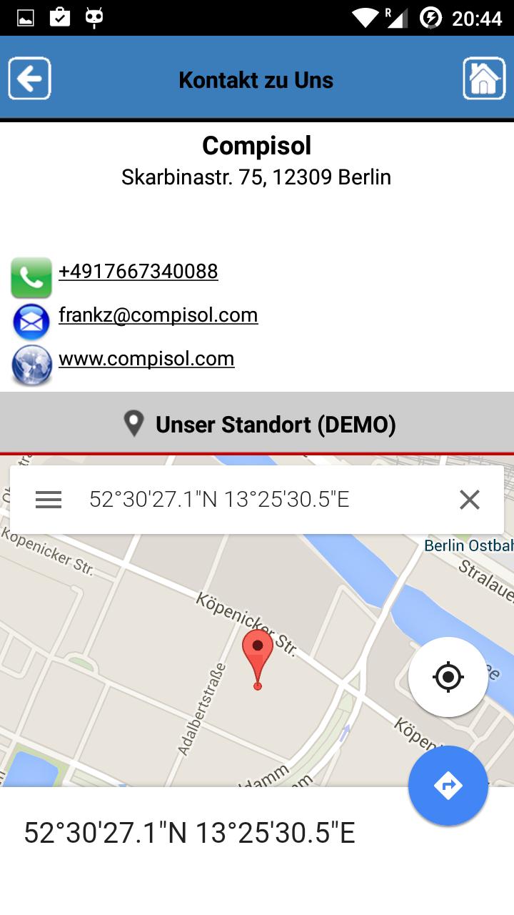 Firmeninfo App erstellen